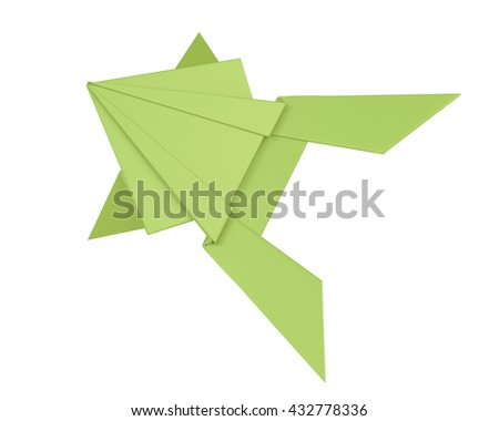 Green origami frog isolated on white background. 3d rendering.