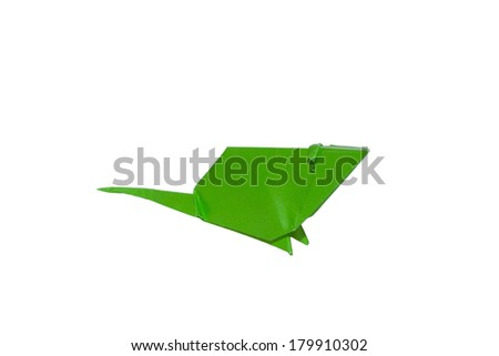 Green origami mouse isolated on white - stock photo