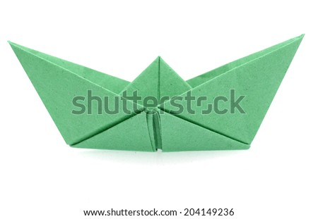Green origami paper boat isolated on white  - stock photo