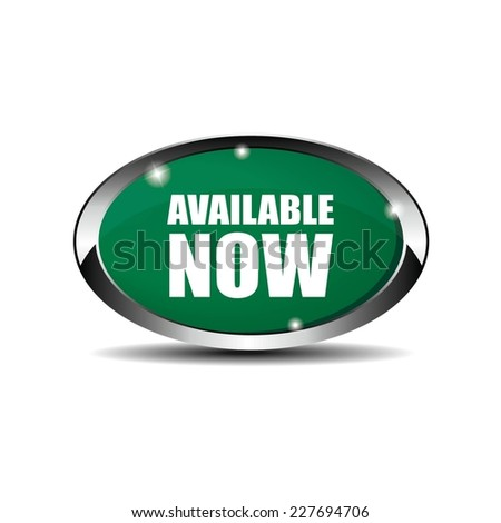 Green Oval Available Now Button With Metallic Border. - stock photo