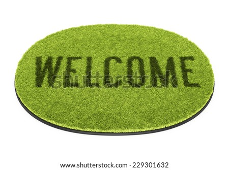 Green oval doormat with text Welcome isolated on white background - stock photo