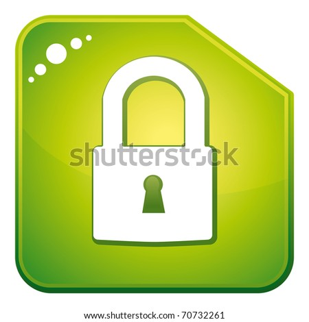 Green padlock icon. Security concept.
