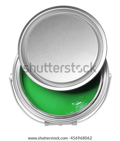 Green paint can and cover, isolated on white background