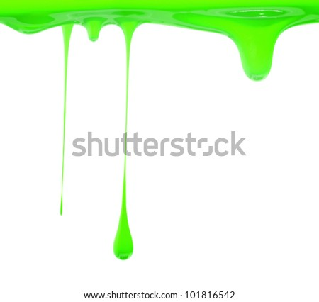 Green paint dripping - stock photo