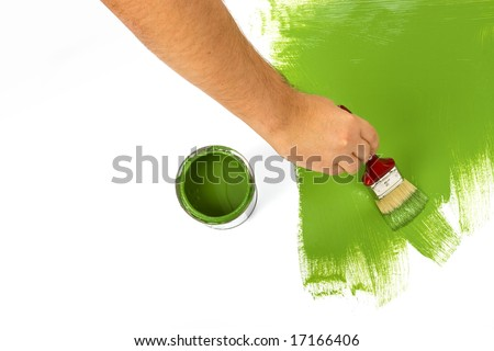 Green painting with a paint brush and paint can - stock photo