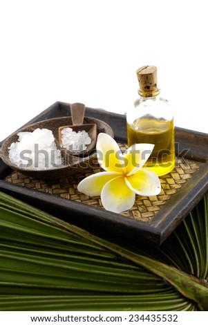 Green palm background- spa setting - stock photo