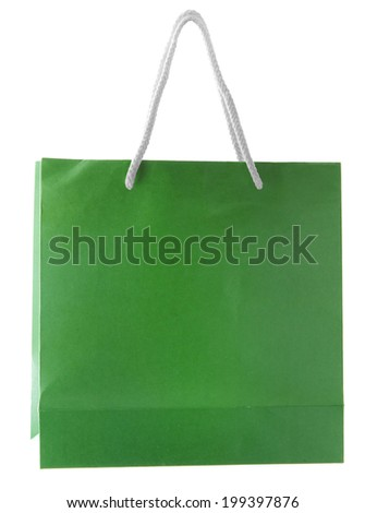 Green paper bag isolated on white - stock photo