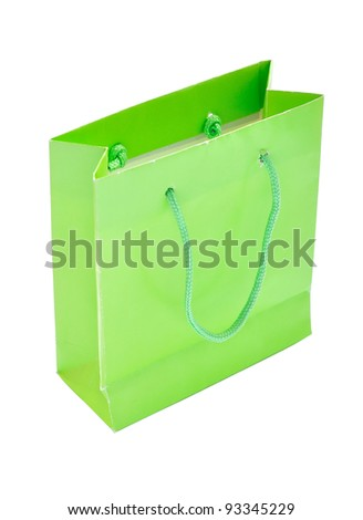 Green paper bag isolated with clipping paths - stock photo