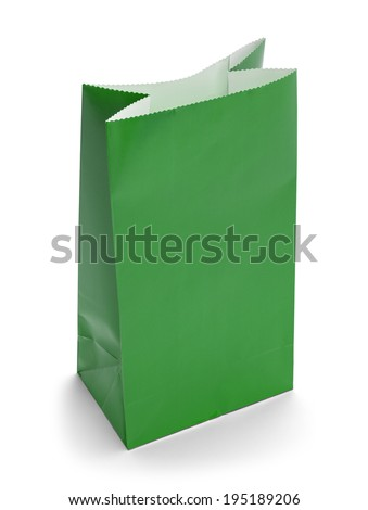 Green Paper Bag Lunch with Copy Space Isolated on White Background.