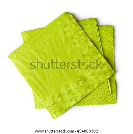 green paper napkins isolated on white background