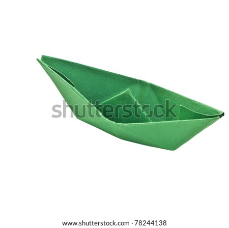 Green paper ship isolate on white background - stock photo