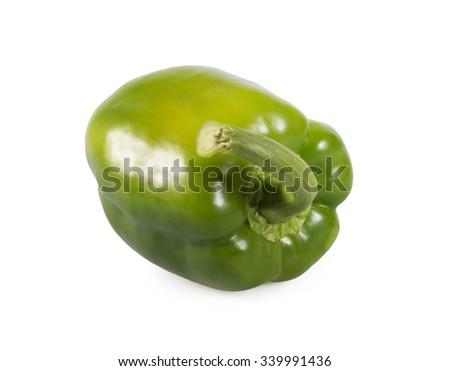 Green paprika isolated on white background - stock photo