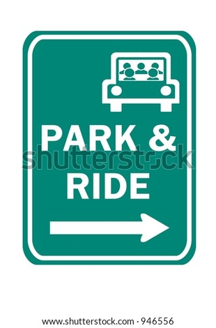 Green Park and Ride Right sign isolated on a white background - stock photo