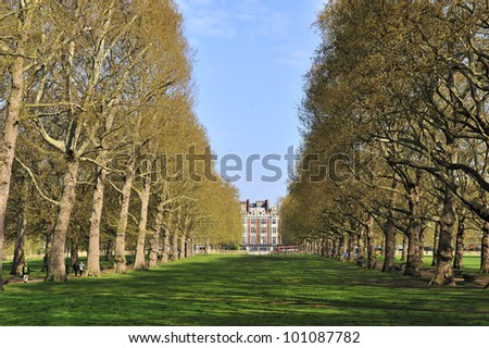 Green Park at Buckingham palace London, Great Britain - stock photo
