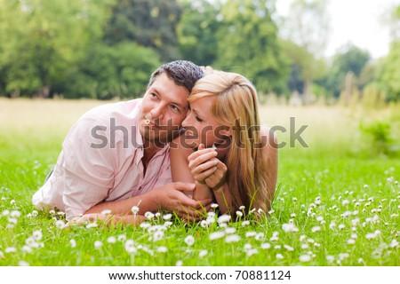green park couple - stock photo