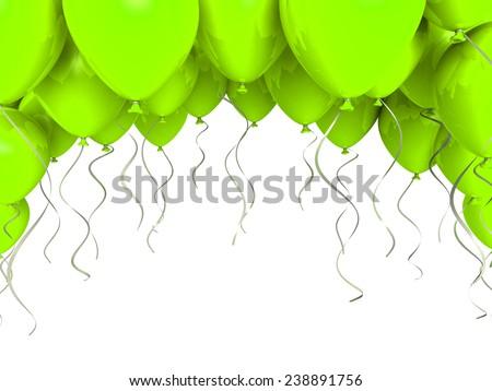Green party balloons on white background  - stock photo