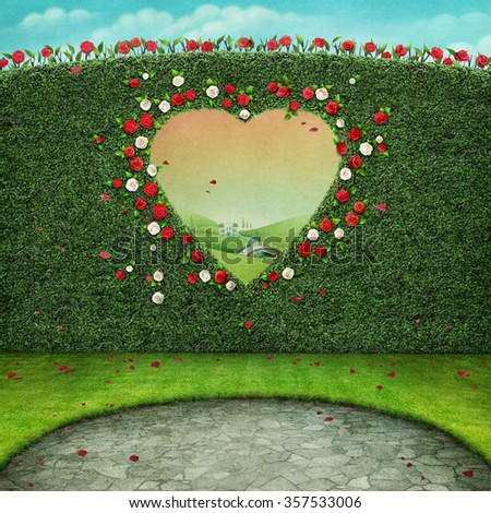 Green pastel background with window in shape of  heart.  - stock photo