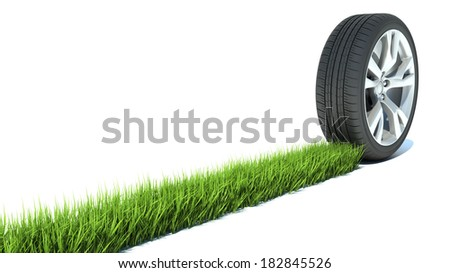 green path from a wheel - stock photo
