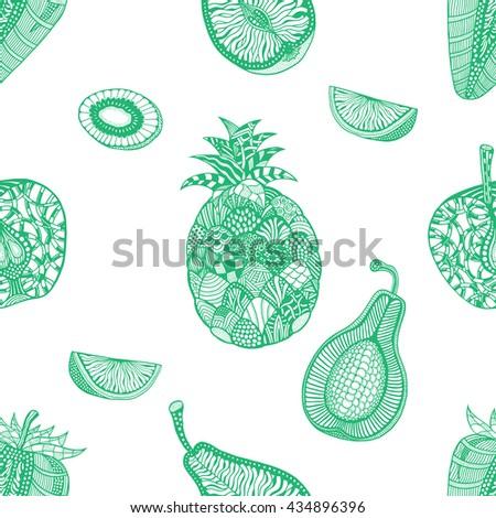 Green pattern backgroud of fruit. Plant. Exotic fruit. Line art. Hand drawn. Doodle art illustration. - stock photo
