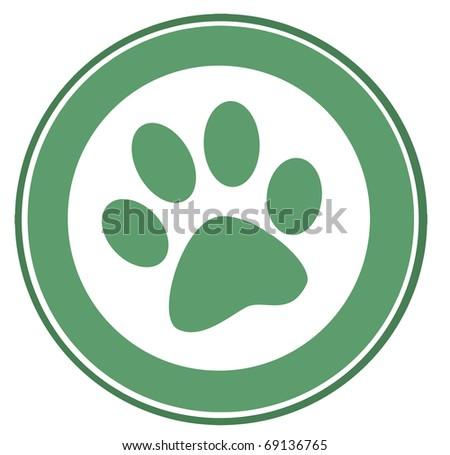 Green Paw Print Banner - stock photo