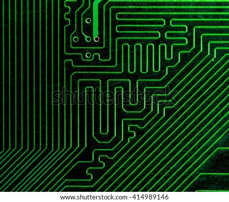 green pcb board circuit very high detail - stock photo