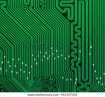 green pcb board integrated circuit electric computer parts abstract background  - stock photo