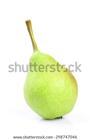 Green pear isolated on white background - stock photo