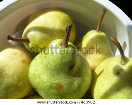 Green pears close-up shot with sunlight and shadow - stock photo