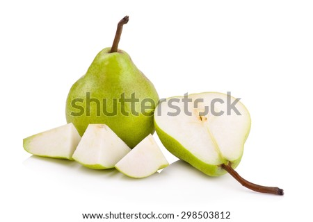 green pears over white background - stock photo