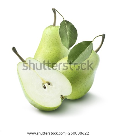 Green pears whole and half split isolated on white background as package design element - stock photo
