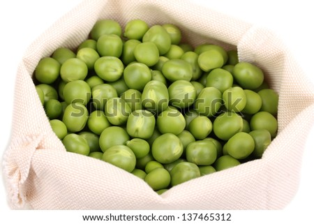 Green peas in bag close-up