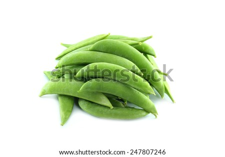 Green Peas in Pods Isolated on White Background - stock photo