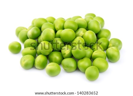 Green peas isolated on a white background - stock photo