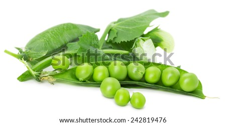 green peas isolated on the white background - stock photo