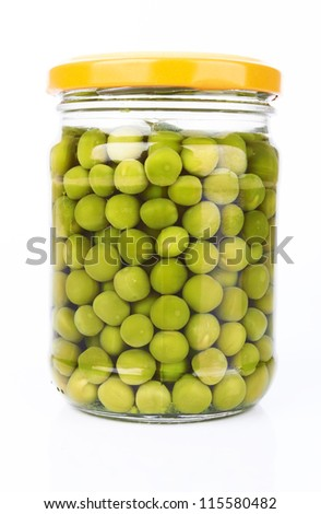 green peas preserved in a glass jar - stock photo