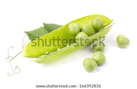 Green peas with green leaf isolated on white background