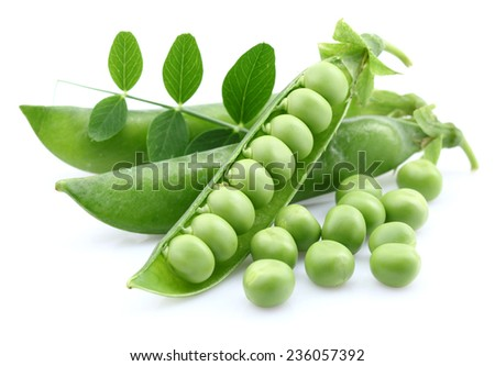 Green peas with leaves