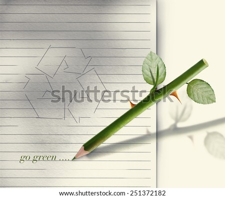 Green pencil rose stem and thorn with leaves. - stock photo