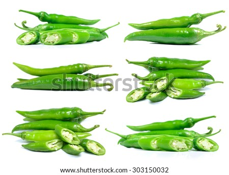 Green pepper isolate on white background. - stock photo