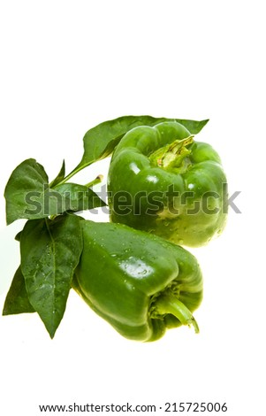 Green pepper isolated in white background - stock photo