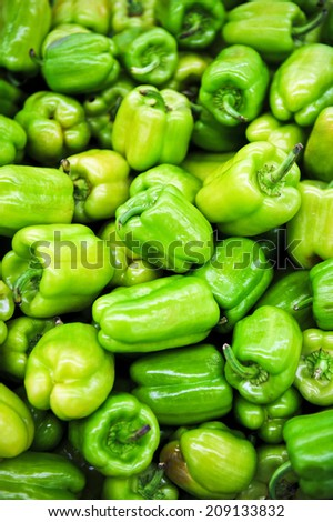 green pepper on a layout in the Market - stock photo