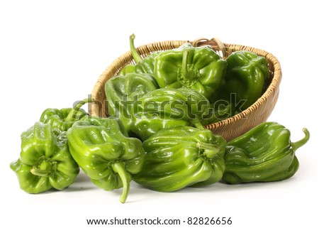 green pepper on white background close up shoot