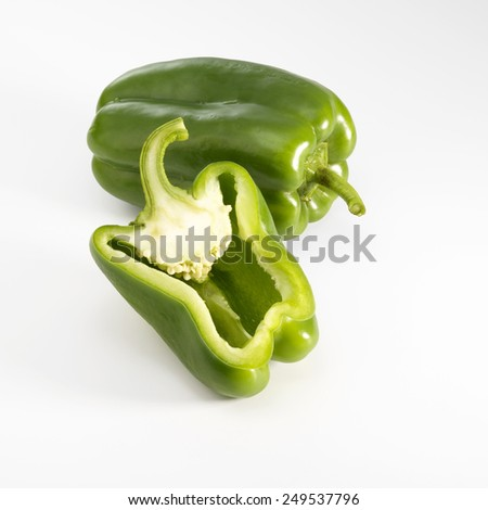 Green pepper sliced isolated on a white background - stock photo