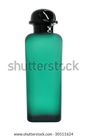 Green perfume bottle. Isolated on white - stock photo