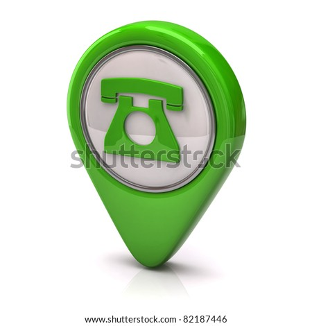 Green phone Icon - stock photo