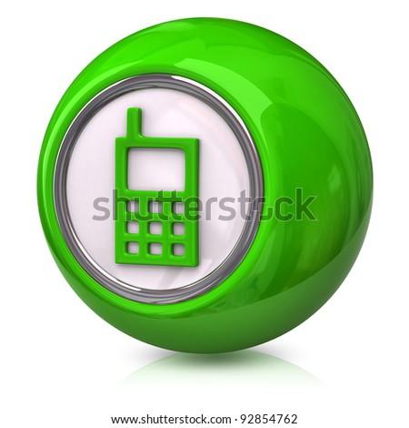 Green phone Icon on white background - stock photo