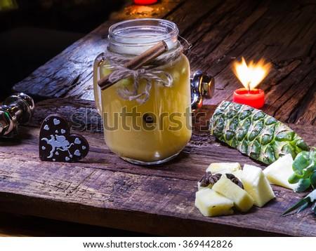 green pineapple tea - stock photo