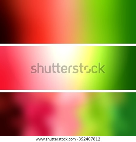 Green pink blur backgrounds set banners. Abstract backgrounds resemble the flesh of a cut watermelon. Vitamins, diet and healthy eating is associated with these backgrounds.