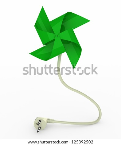green pinwheel on energy plug cable, 3d illustration - stock photo