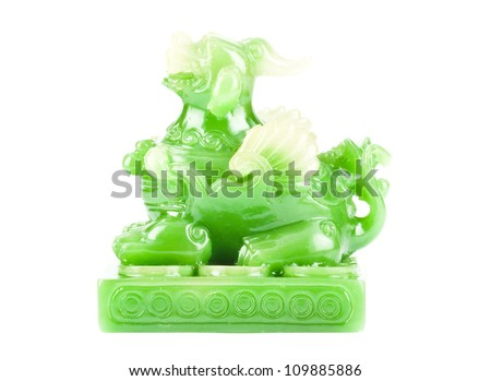 Green Pixiu on a white background, Chinese lucky animal mascot - stock photo